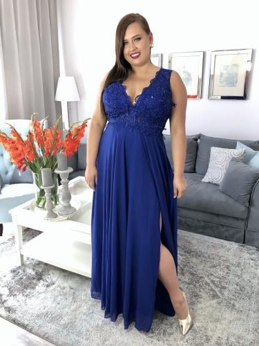 617fadc9b4b857 Nosa Chaber Suknia Długa z Dekoltem w Szpic Gipiura Sukienka XXL Plus Size  Duży Rozmiar