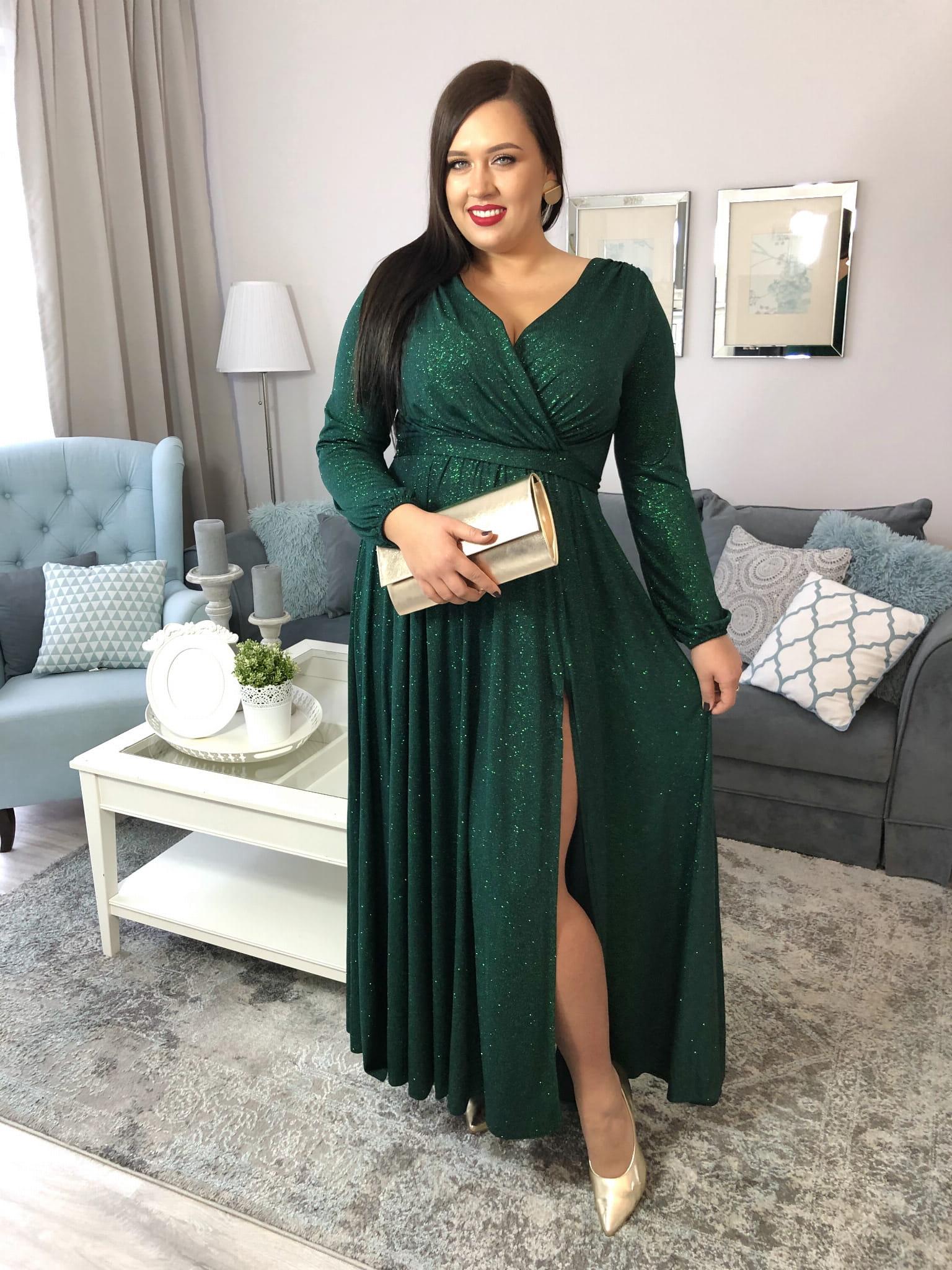 Logra Butelkowa Zieleń Brokat Sukienka Maxi z Długim Rękawem Sukienka XXL Plus Size Duży Rozmiar